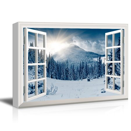 wall26 3D Visual Effect View Through Window Frame Canvas Wall Art - Snow Covered Pine Tree Forest - Giclee Print Gallery Wrap Modern Home Decor Ready to Hang - 12x18 inches ()