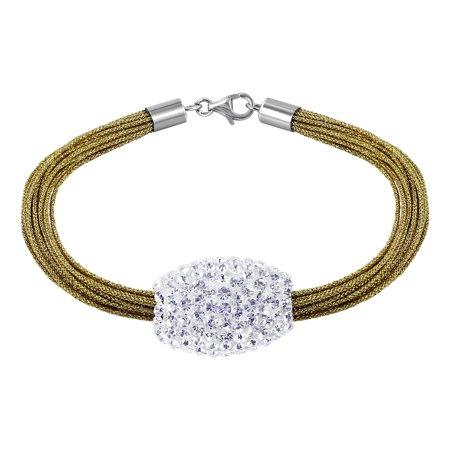- Gem Avenue 925 Sterling Silver Studded Barrel Bracelet 7.5 inch with Shimmering Golden Silk Strands