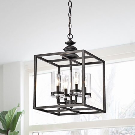 The Gray Barn  White Ridge 4-light Antique Black Lantern Chandelier with Clear Glass Cylinders