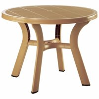 Siesta ISP146-TEA 42 in. Truva Resin Round Dining Table, Teak Brown