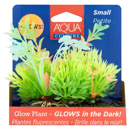 Aqua Culture Small Aquarium Plant Decoration, Small, Glow in the Dark (Glow Decorations)
