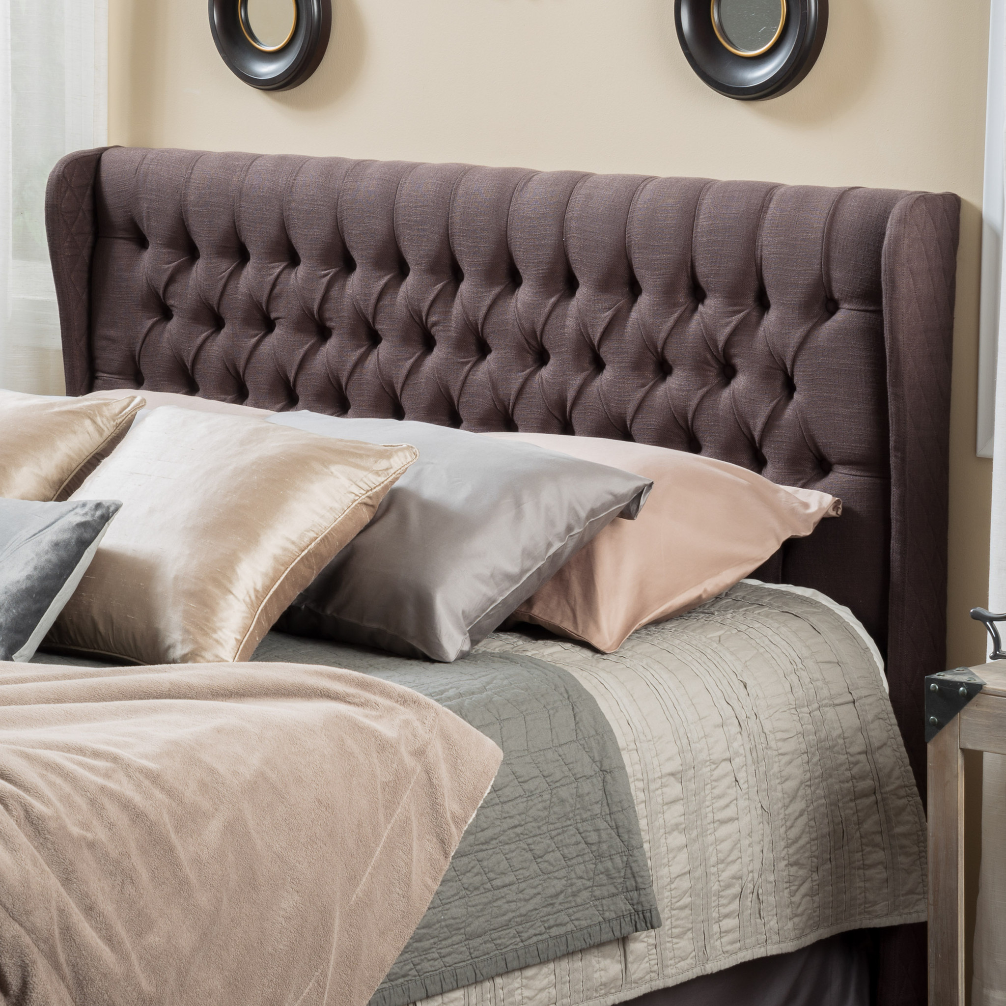 Abeline Queen Tufted Wingback Fabric Headboard