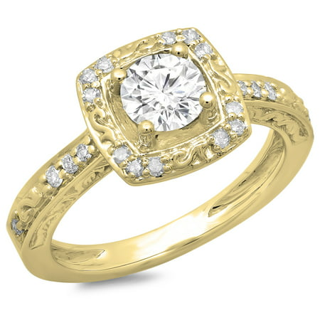 Dazzlingrock Collection 1.00 Carat (ctw) 14K Round Cut Diamond Ladies Vintage Style Halo Bridal Engagement Ring 1 CT, Yellow Gold, Size 6.5