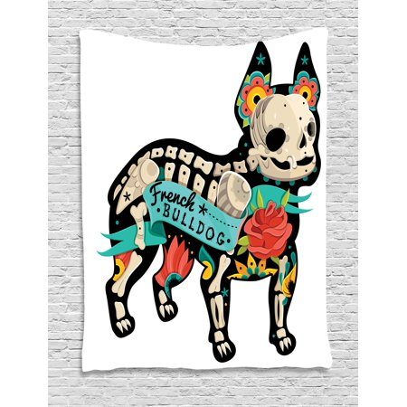 Bulldog Tapestry, Gothic Artwork Puppy Silhouette with Skeleton and Colorful Flowers French Bulldog, Wall Hanging for Bedroom Living Room Dorm Decor, 40W X 60L Inches, Multicolor, by - Bulldog Skeleton