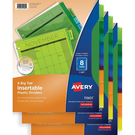 Big Tab Insertable Plastic Dividers, 8-Tabs, 3 pk (71901), Bigger tab  inserts allow for larger fonts or more text than standard inserts By Avery