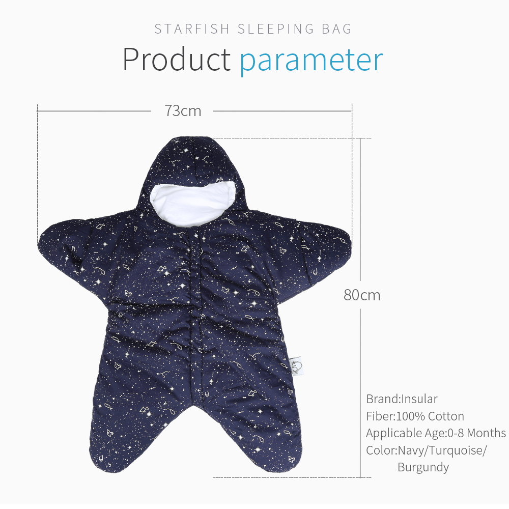 Starfish Baby Sleeping Bag Winter Baby Sleep Sack Warm Baby Blanket
