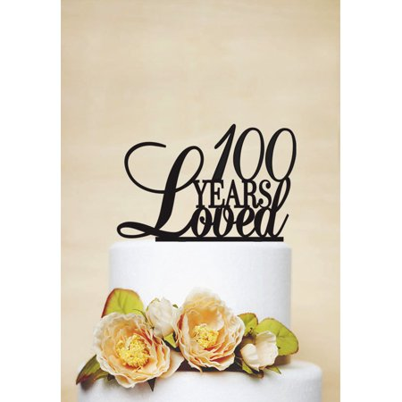 RENEWFOX 100 Years Loved Cake Topper100th Birthday Anniversary Topper
