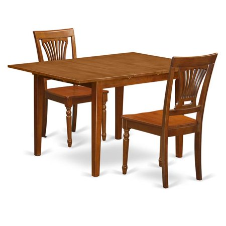 Milan Kitchen Table with Leaf & 2 Wood Seat Chairs, Saddle Brown - 3 Piece