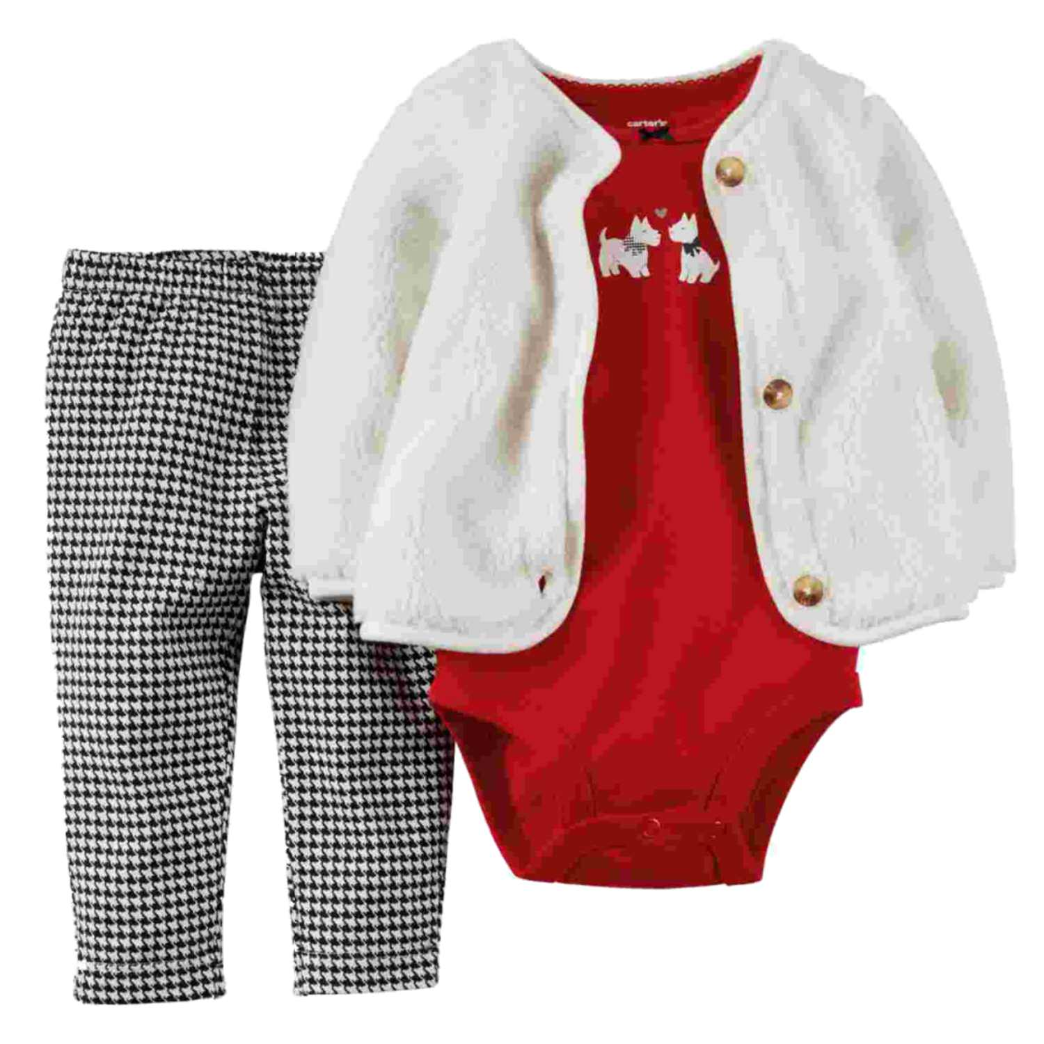 Carters Infant Girls 3 Piece Scotty Dog Set Plush Jacket Shirt & Leggings Set