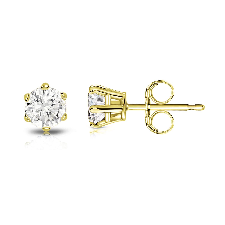 Auriya 14k Gold 1 3ct Tdw Round 6 Prong Solitaire Diamond Stud