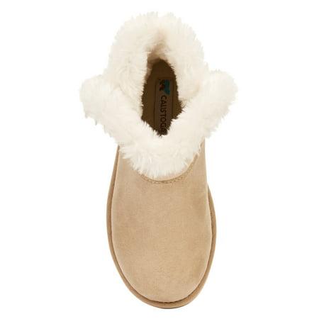 Calistoga Vegan Suede Faux Fur Ankle Boots (Little Girls & Big Girls)
