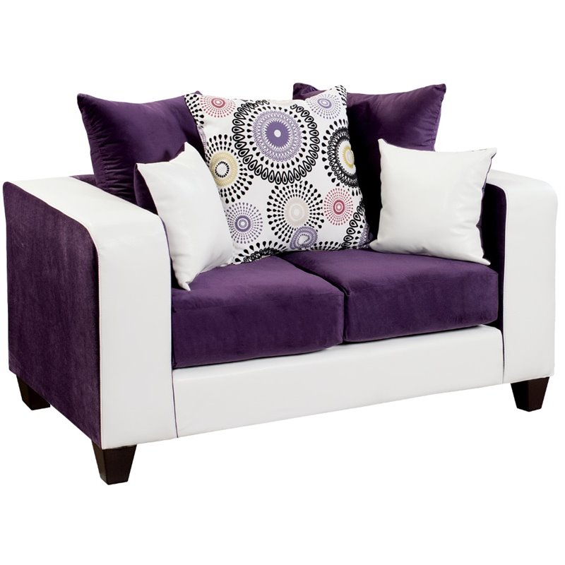 Bowery Hill Velvet Loveseat in Purple and White