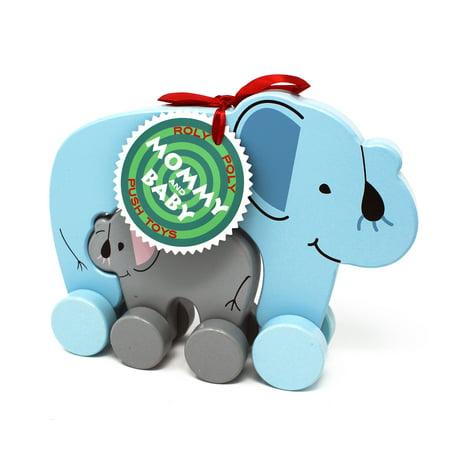 Jack Rabbit Creations Elephant Mommy &Baby Push Pull Toy