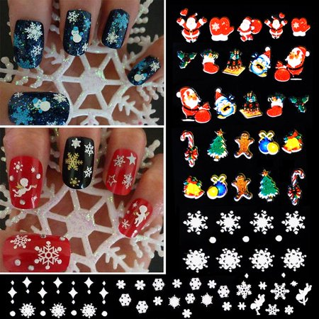 12 Sheets Nail Art Stickers Decals 3d Christmas Snowflake Tree Deer