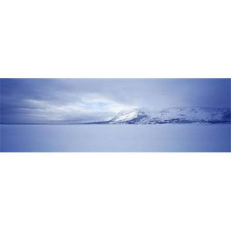 Frozen Jackson Lake in winter  Grand Teton National Park  Wyoming  USA Poster Print by  - 36 x 12
