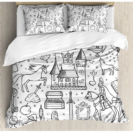 Doodle Queen Size Duvet Cover Set, Prince Charming and Castle Pirncess Inspired Romance Drawing Knights Dragons Swords, Decorative 3 Piece Bedding Set with 2 Pillow Shams, Black White, by (Prince Of Persia Rival Swords Full Walkthrough)