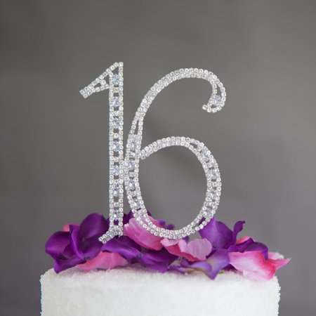 Sweet 16 Cake Topper 16th Birthday Silver Party Supplies Decoration Ideas Crystal