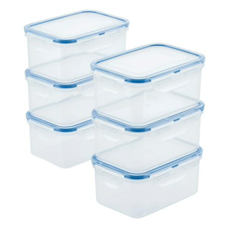 Lock & Lock Set of 6 Easy Essentials 100% Leakproof - Dishwasher - Freezer and Microwave Safe - 20-Ounce Rectangular Food Storage Container Seal Freezer Microwave Set