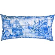 Room with a View White/ Blue Digital Mosaic Feather-filled Throw Pillow