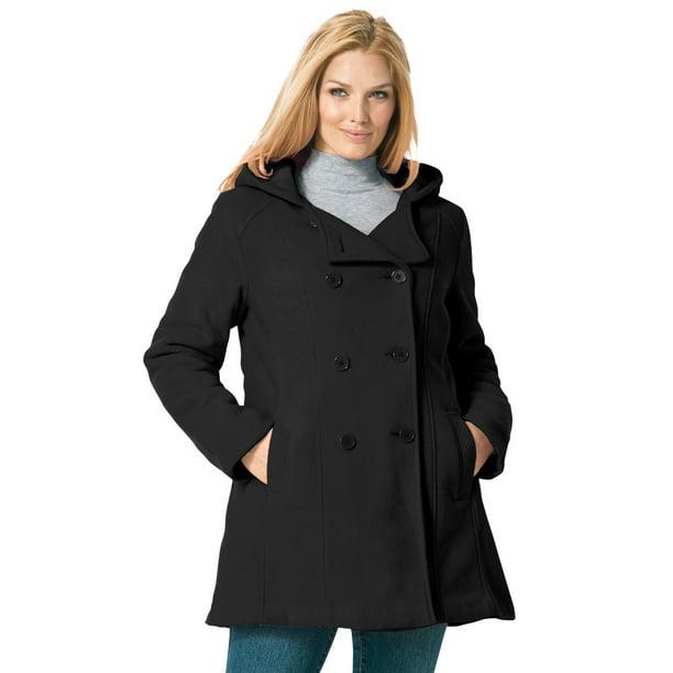 Woman Within Woman Within Women S Plus Size Double Breasted Hooded Fleece Peacoat Peacoat Walmart Com Walmart Com
