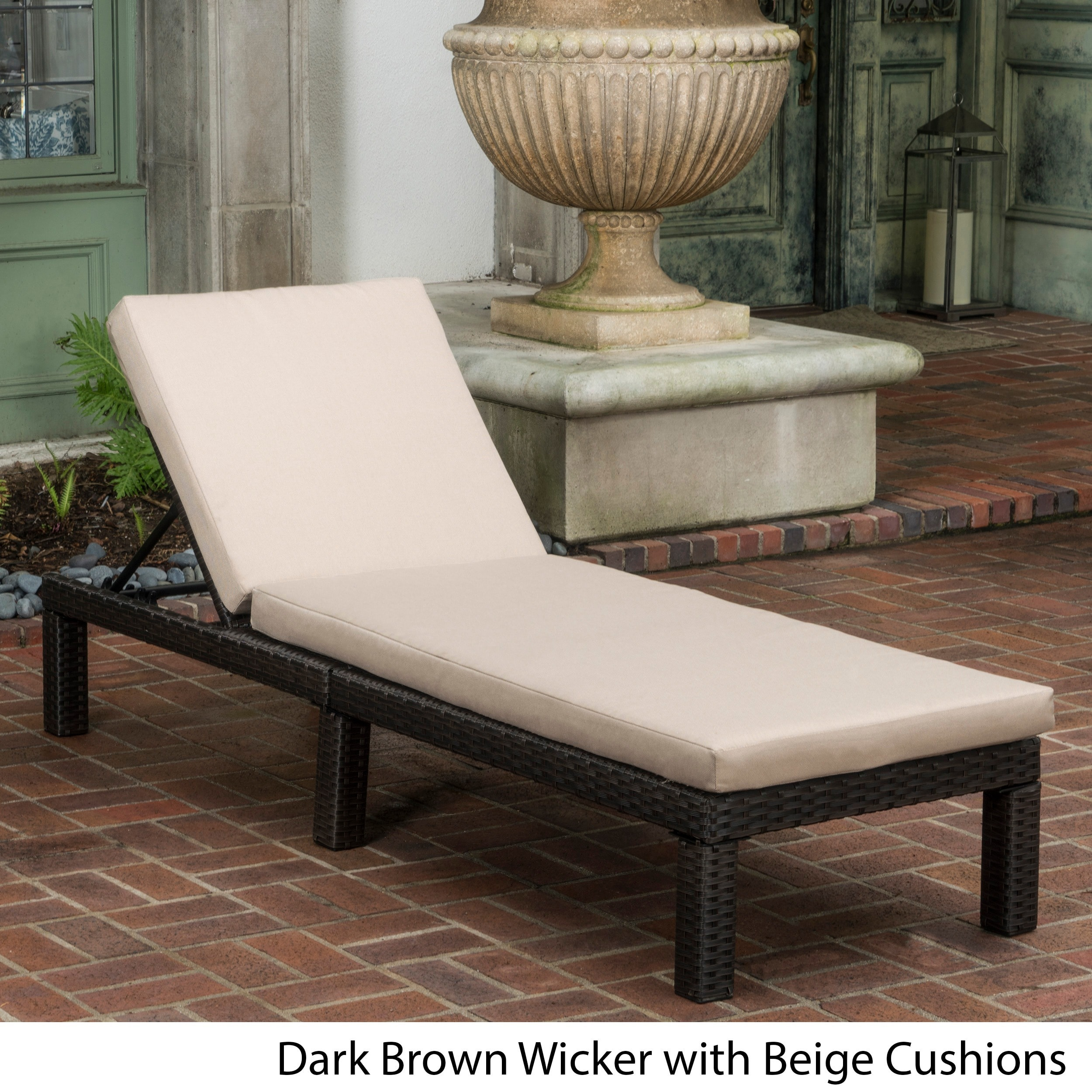 Christopher Knight Home Puerta Outdoor Adjustable Wicker Chaise Lounge with Cushion by