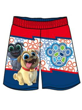 Disney Puppy Dog Pals Toddler Boys' Swim Trunks Bingo Rolly - Blue/Red/White