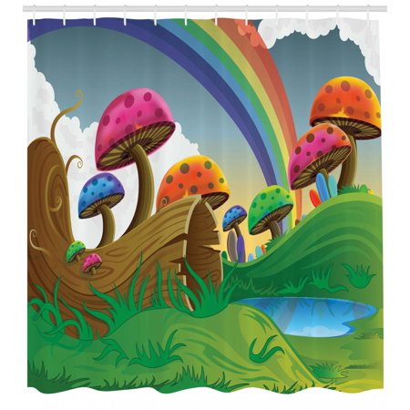 - Mushroom Shower Curtain, Countryside Sunny Playful Environment Foliage Rainbow Spring Scenery Kids Room, Fabric Bathroom Set with Hooks, Multicolor, by Ambesonne