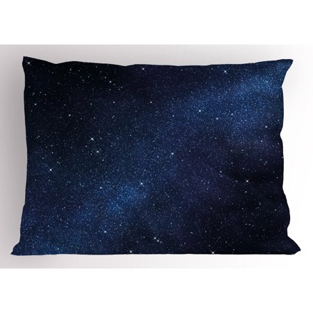 Night Pillow Sham Space with Billion Stars Inspiring View Nebula Galaxy Cosmos Infinite Universe, Decorative Standard Size Printed Pillowcase, 26 X 20 Inches, Dark Blue White, by