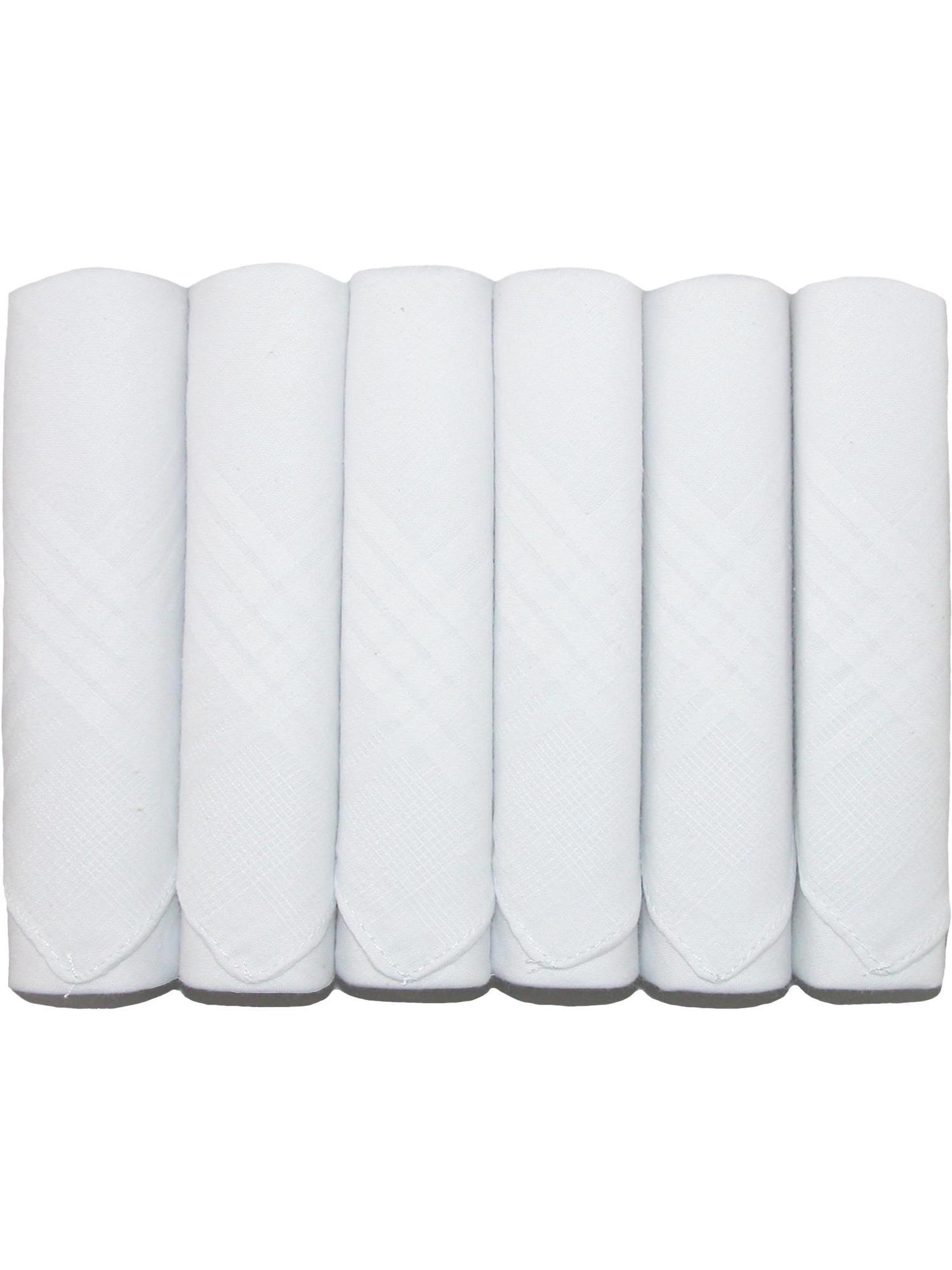 Size one size Men's Cotton Boxed Plain Handkerchiefs (Pack of 6), White