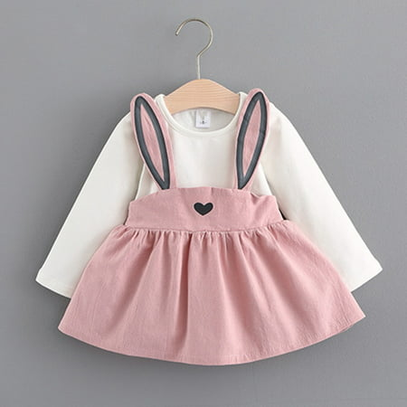 BOBORA Autumn Winter Baby Girls Long Sleeve Cute Rabbit Princess Dresses - Winter Dress Girls