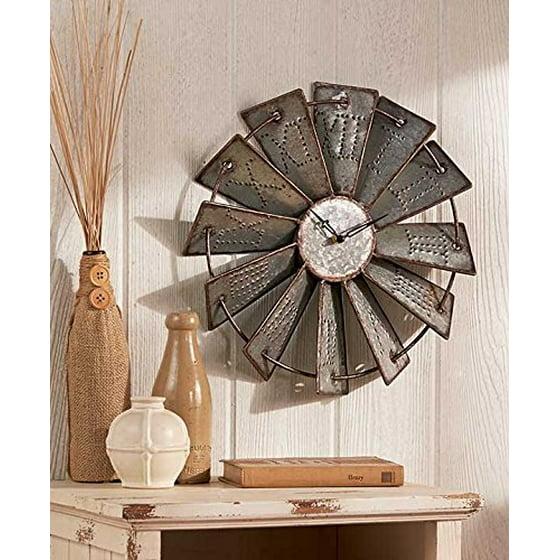 metal windmill rustic country primitive clock wall decor. Black Bedroom Furniture Sets. Home Design Ideas