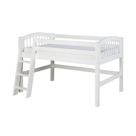 Camaflexi Twin Size Low Loft Bed - Arch Spindle Headboard - White Finish