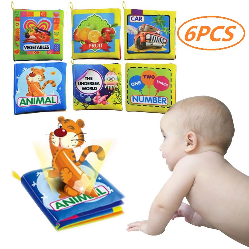 Cosyitems 6PCS Baby Soft Activity Books Set – Babies Cloth Food Alphabet Shapes Book for Girls Boys Kids Children Touch Learning Toys 0-4 Years