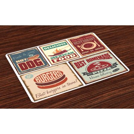 Retro Placemats Set of 4 Nostalgic Tin Signs and Mexican Food Prints Aged Advertising Logo Style Artistic Design, Washable Fabric Place Mats for Dining Room Kitchen Table Decor,Multi, by -