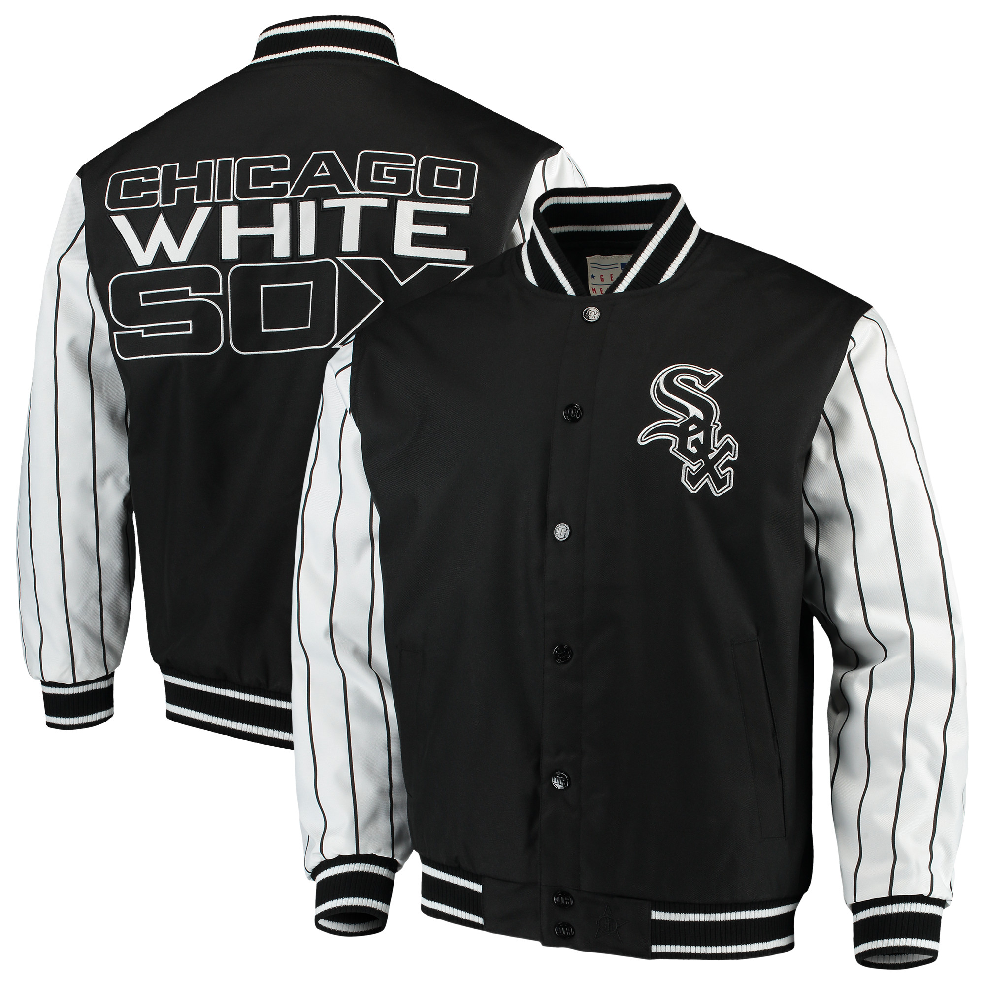 Chicago White Sox JH Design Quilted Knit Jersey Lined Jacket - Black