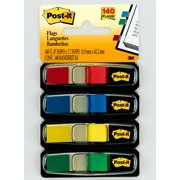 """Post-it Flags, Assorted Primary Colors, .5"""" Wide, 35 Flags/Dispenser"""