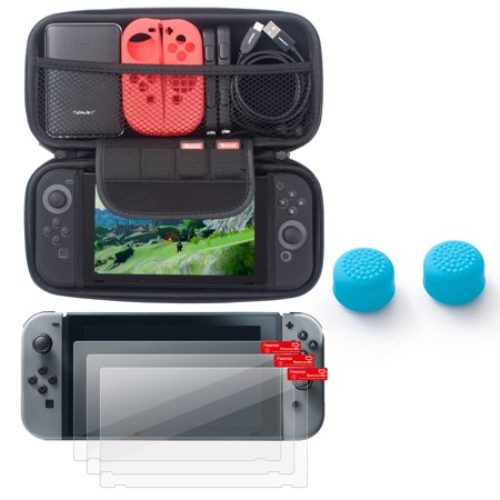Insten EVA Hard Shell Cover Zipper with Card Slot + 3-pack Clear LCD Screen Protector + Blue Joy-Con Gaming Thumb Grip Stick Caps