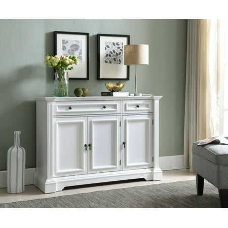 Liam White Wood Contemporary Sideboard Buffet Console Table With Storage Cabinets, Drawers, Shelves