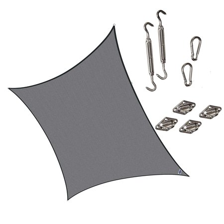 Cool Area Square Oversized 16 Feet 5 Inches Sun Shade Sail With Stainless Steel Hardware Kit  Uv Block Fabric Shade Sail In Color Graphite