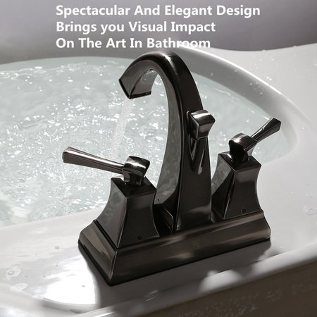 G1 2 black nickel widespread lavatory bathroom faucet two handle sink water mixer tap antique for Black nickel bathroom faucets