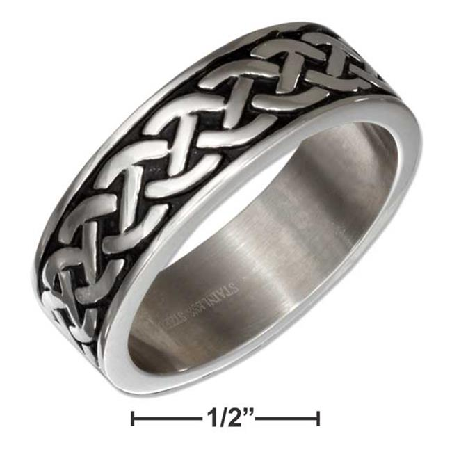 P-017830-13 13 in. Stainless Steel Celtic Knot Weave Wedding Band Ring - image 1 de 1