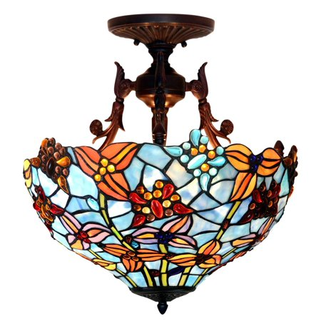 Bieye L10419 16 Inches Erfly Tiffany Style Stained Gl Semi Flush Mount Ceiling Light Fixutre
