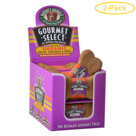 Natures Animals Gourmet Select Organic Dog Bone - Carrot Flavor 24 Pack - Pack of 2 (Carrot Flavor Bone)