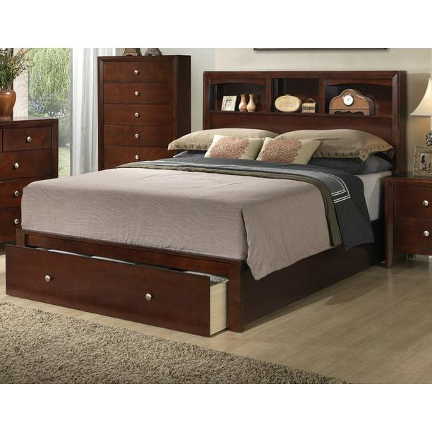 Bedroom Furniture 1pc Queen Size Bed, Cherry Veneer Bedroom Furniture