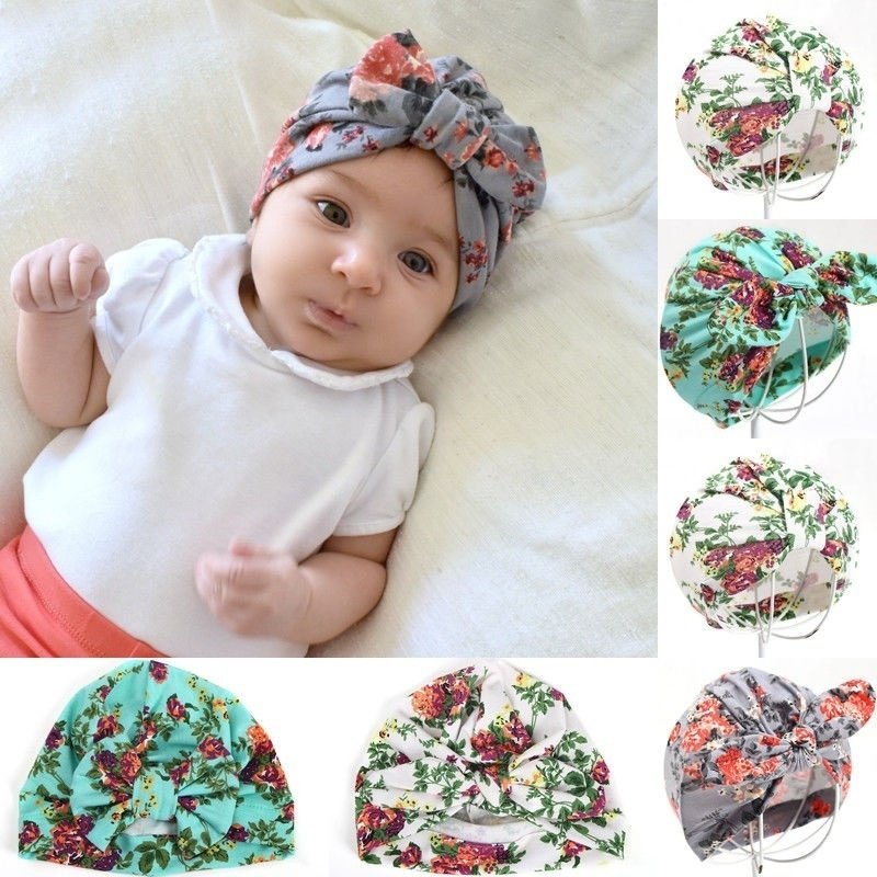 0-6M Newborn Infant Boy Girls Cotton Floral Bowknot Beanie Hat Photo Prop Gifts