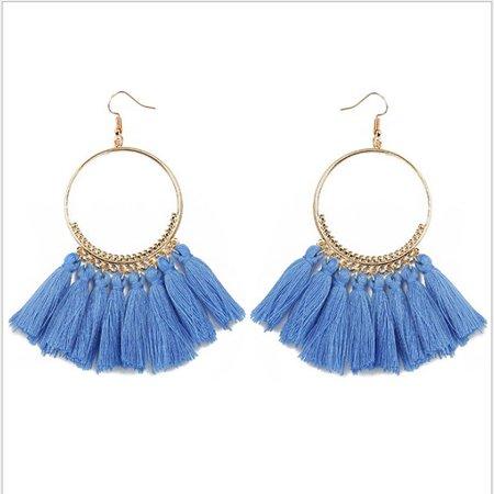 Women Ethnic Tassel Earrings Big Drop Earrings Bohemia Jewelry Fashion, Handmade Hanging Fringe Dangle Earrings for Women Girls