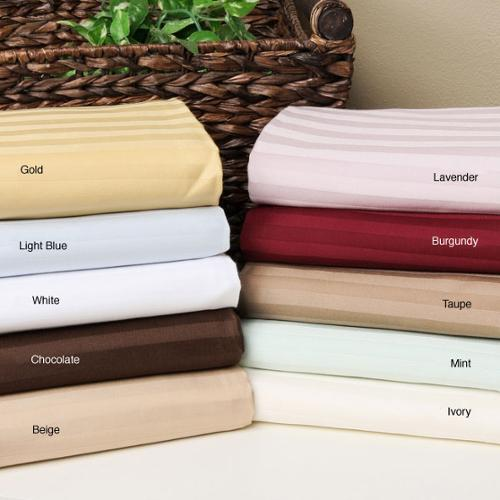 Egyptian Cotton 650 Thread Count Olympic Queen Striped Deep Pocket Sheet Set Beige