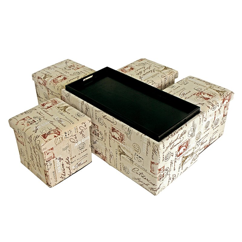 Creative Living 5 Piece Storage Bench and Ottoman Set