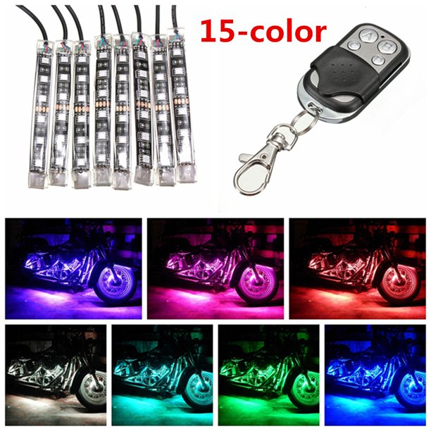 8pcs 12v Dc Rgb Color Motorcycle Led Flexible Light Strip Lamp Neon Remote Control Kit Atv Motorcycle Motorbike Pit Dirt Bike Waterproof Us Walmart Com Walmart Com