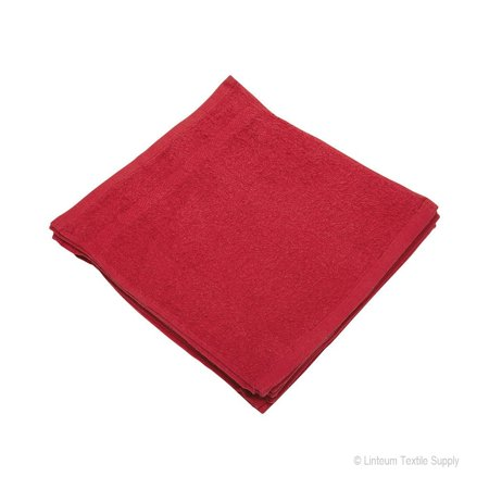 Linteum Textile (12-Pack, 12x12 in, Red) WASHCLOTHS Face Towels, 100% Soft Cotton ()